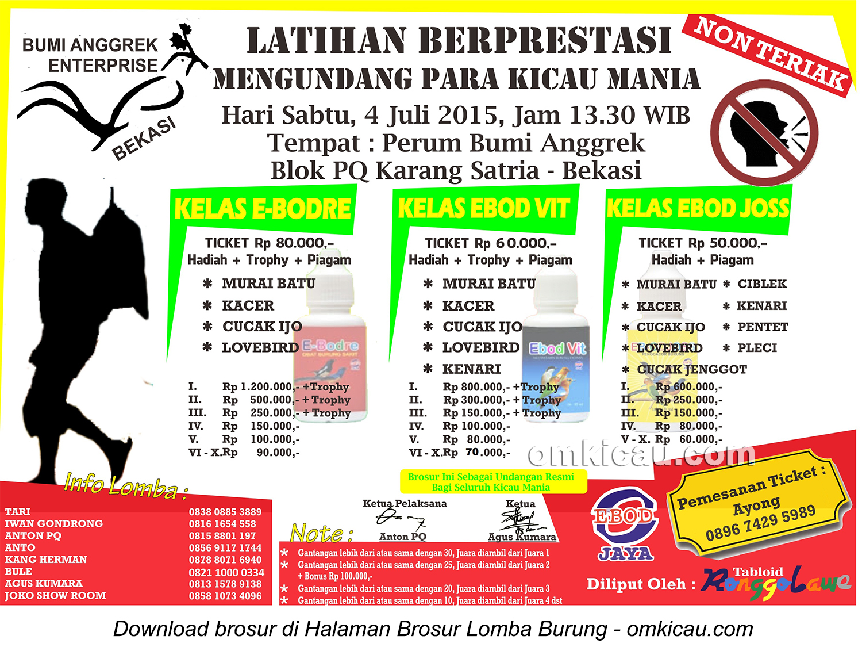Brosur Latpres Burung Berkicau Bumi Anggrek Enterprise, Bekasi, 4 Juli 2015