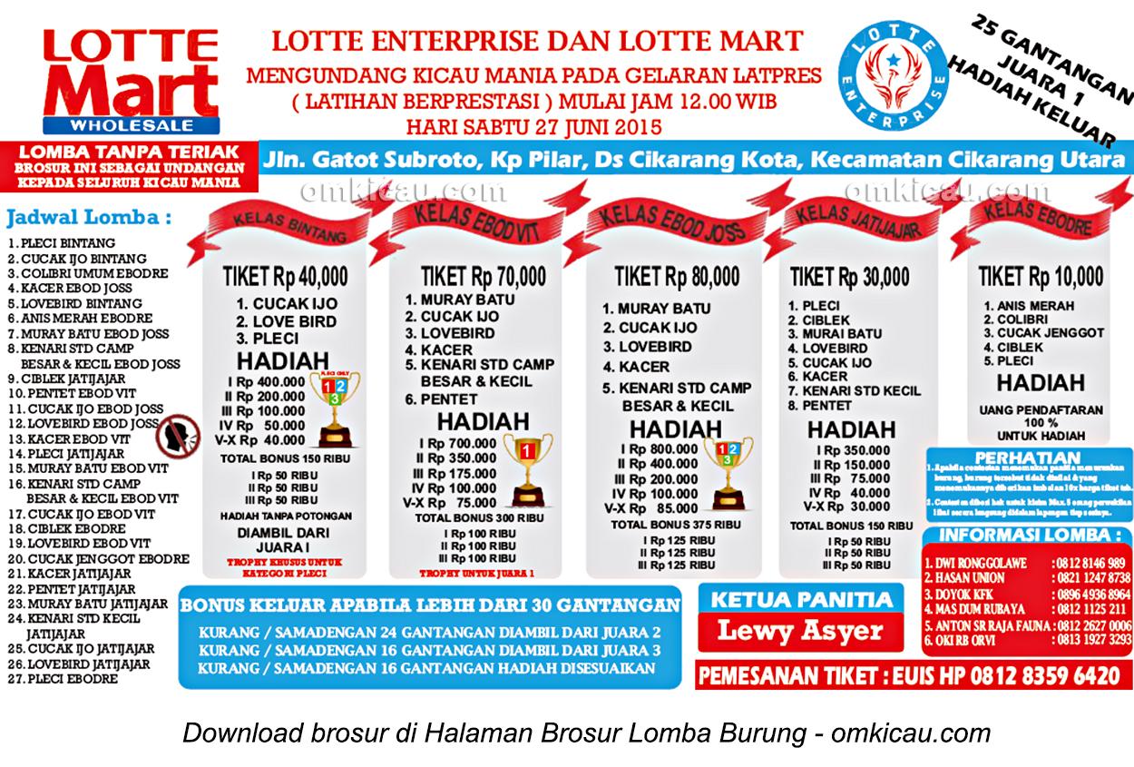 Brosur Latpres Burung Berkicau Lotte Enterprise, Cikarang, 27 Juni 2015