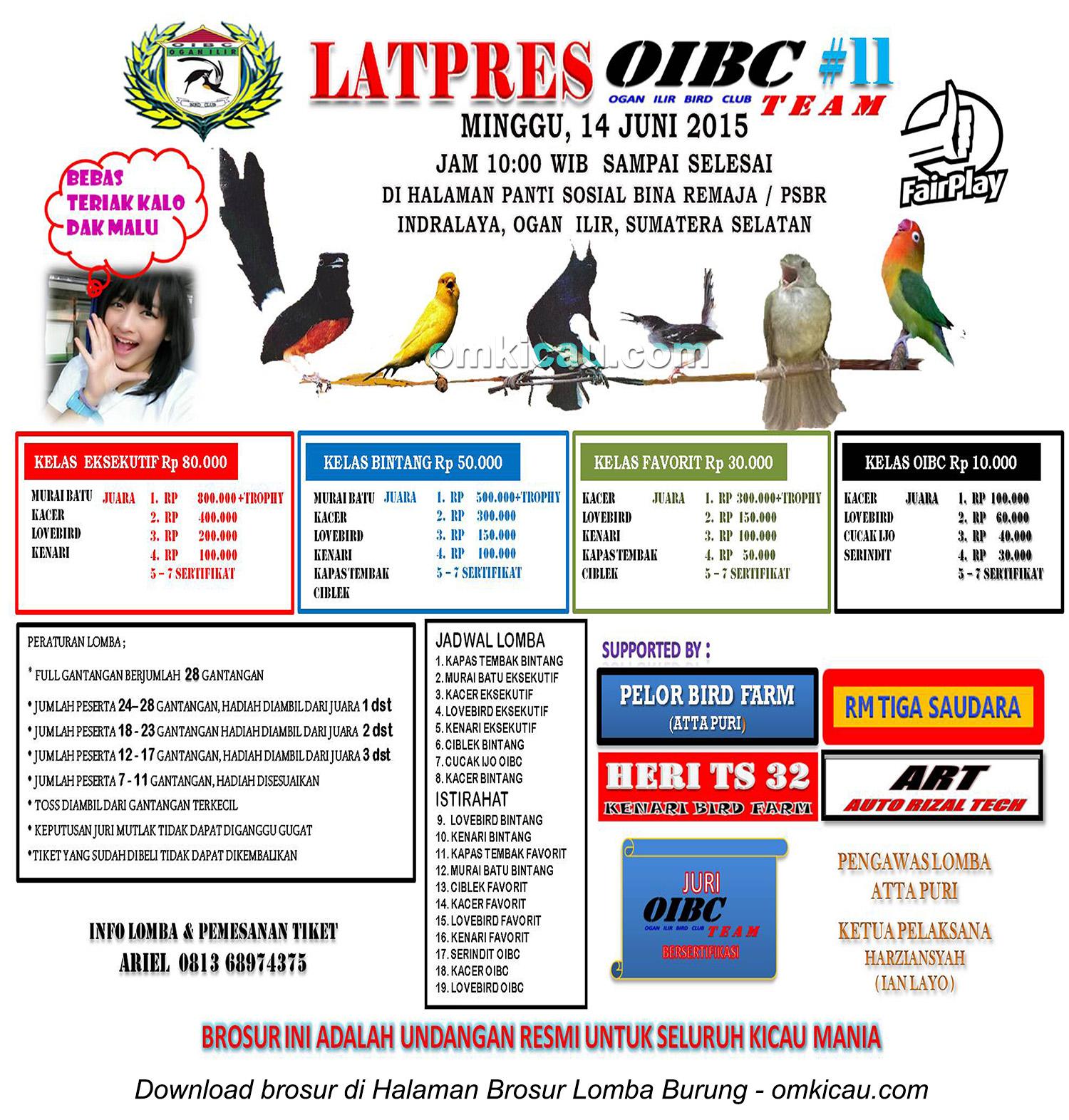 Brosur Latpres Burung Berkicau OIBC #11, Ogan Ilir, 14 Juni 2015