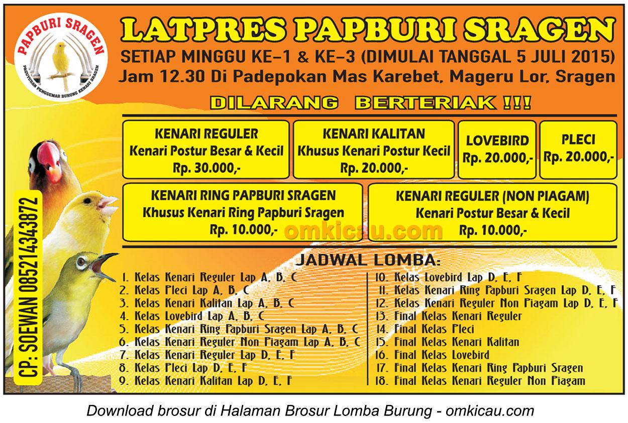 Brosur Latpres Papburi Sragen, 5 Juli 2015