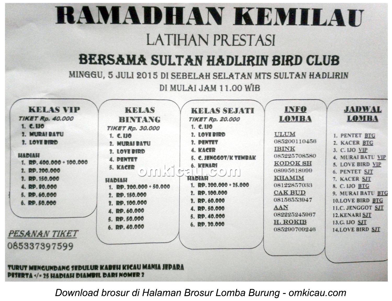 Brosur Latpres Ramadhan Kemilau bersama Sultan Hadlirin BC, Jepara, 5 Juli 2015