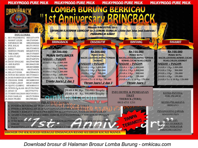 Brosur Lomba Burung Berkicau 1st Anniversary BringBack, Prabumulih, 9 Agustus 2015