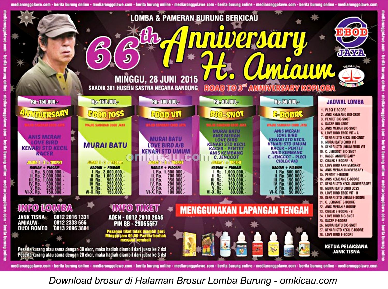 Brosur Lomba Burung Berkicau 66th Anniversary H Amiauw, Bandung, 28 Juni 2015