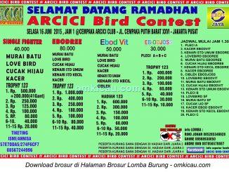 Brosur Lomba Burung Berkicau Arcici Special Selamat Datang Ramadhan, Jakarta, 16 Juni 2015