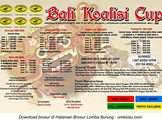 Brosur Lomba Burung Berkicau Bali Koalisi Cup, Denpasar, 16 Agustus 2015