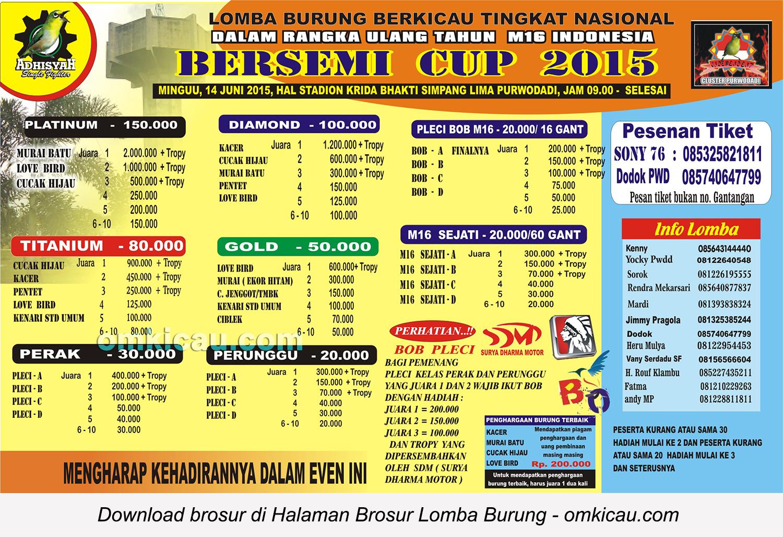 Brosur Lomba Burung Berkicau Bersemi Cup 2015, Purwodadi, 14 Juni 2015