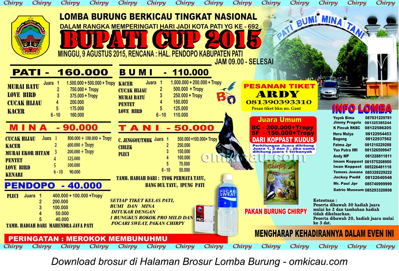 Brosur Lomba Burung Berkicau Bupati Cup, Pati, 9 Agustus 2015