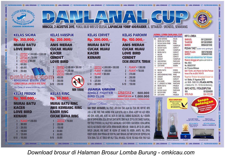 Brosur Lomba Burung Berkicau Danlanal Cup, Semarang, 2 Agustus 2015