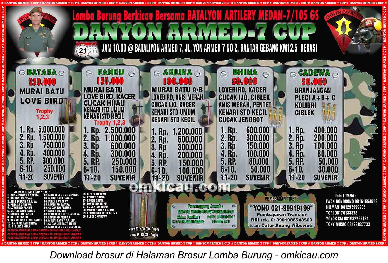 Brosur Lomba Burung Berkicau Danyon Armed-7 Cup, Bekasi, 21 Juni 2015