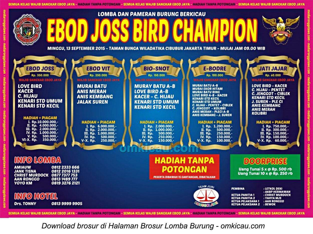 Brosur Lomba Burung Berkicau Ebod Joss Bird Champion, Jakarta, 13 September 2015