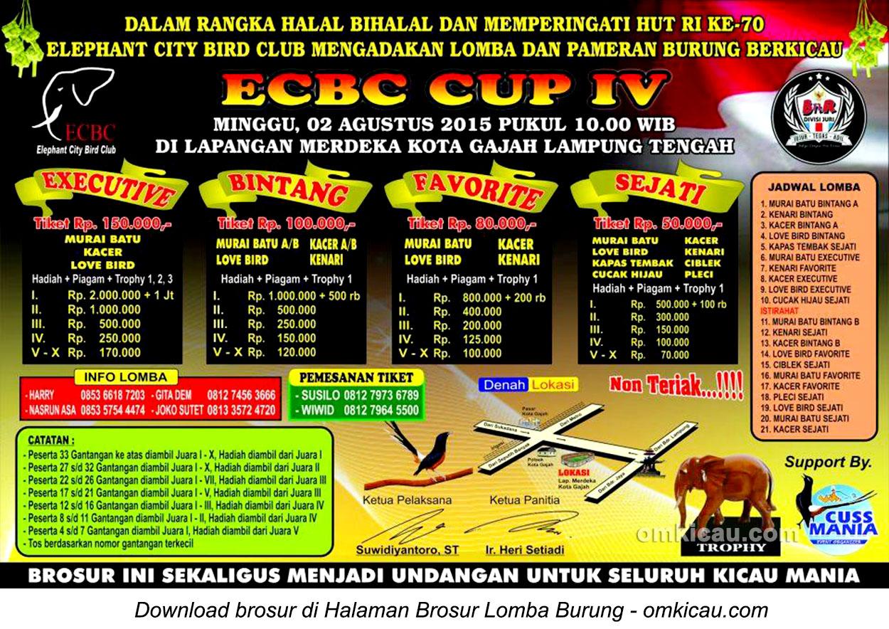 Brosur Lomba Burung Berkicau ECBC Cup IV, Lampung Tengah, 2 Agustus 2015