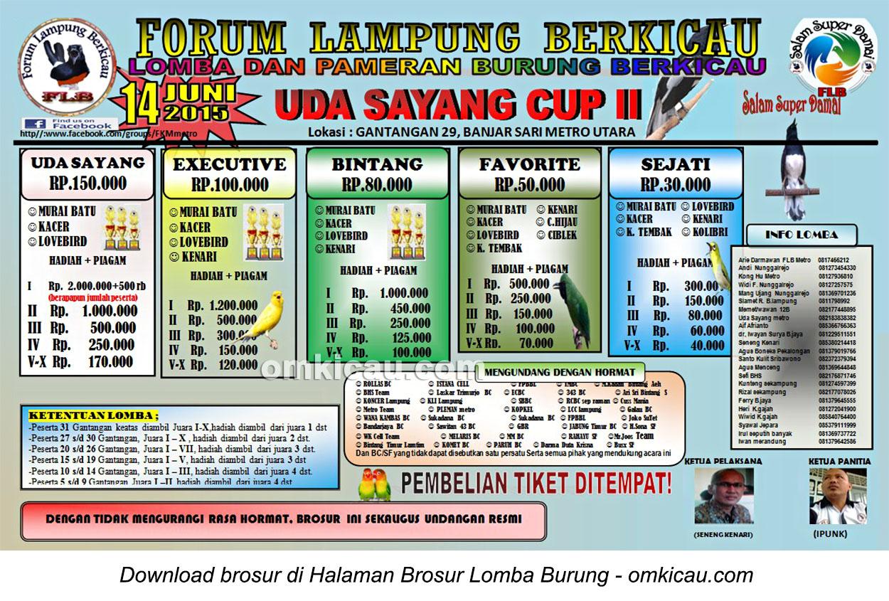 Brosur Lomba Burung Berkicau FLB-Uda Sayang Cup II, Metro Utara, 14 Juni 2015