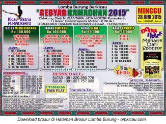 Brosur Lomba Burung Berkicau Gebyar Ramadhan 2015, Purwokerto, 28 Juni 2015