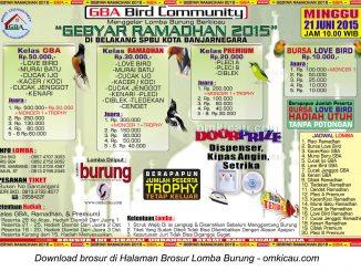 Brosur Lomba Burung Berkicau Gebyar Ramadhan GBA Banjarnegara, 21 Juni 2015