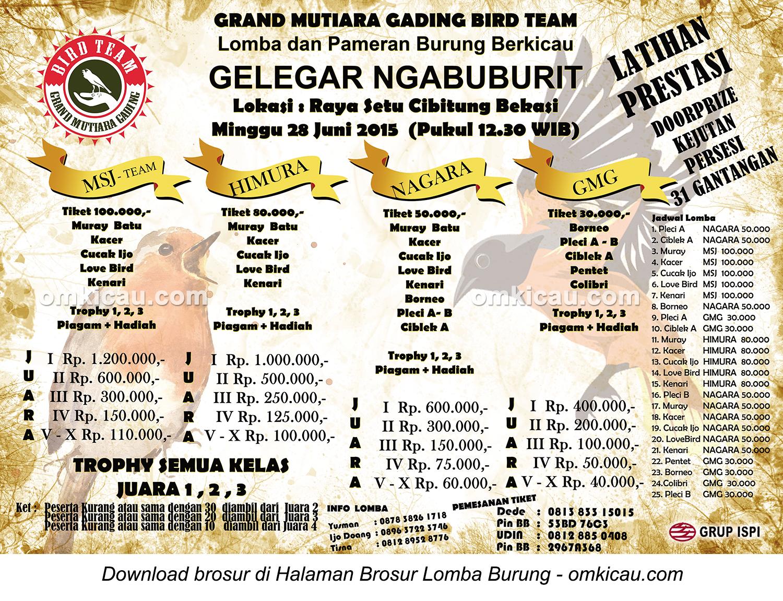 Brosur Lomba Burung Berkicau Gelegar Ngabuburit, Bekasi, 28 Juni 2015