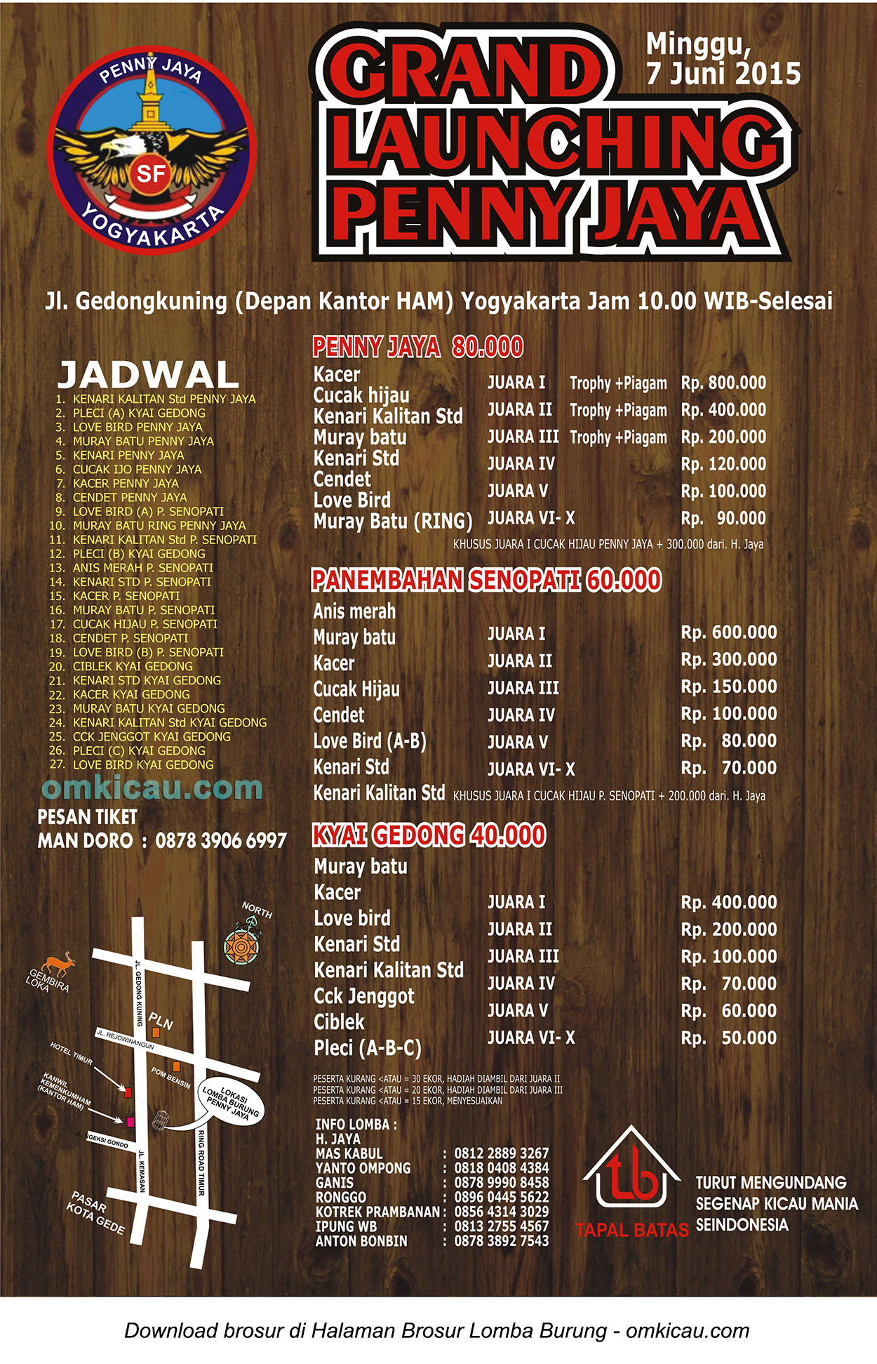 Brosur Lomba Burung Berkicau Grand Launching Penny Jaya, Jogja, 7 Juni 2015