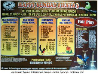 Brosur Lomba Burung Berkicau Happy Sunday Fiesta PBI DKI Jakarta, Depok, 21 Juni 2015