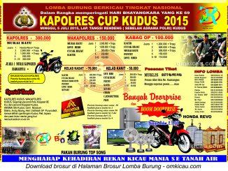 Brosur Lomba Burung Berkicau Kapolres Cup, Kudus, 5 Juli 2015