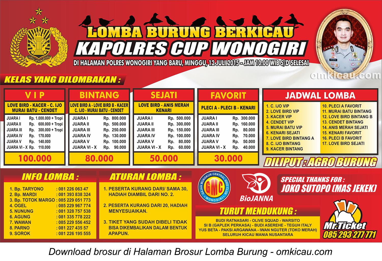 Brosur Lomba Burung Berkicau Kapolres Cup, Wonogiri, 12 Juli 2015
