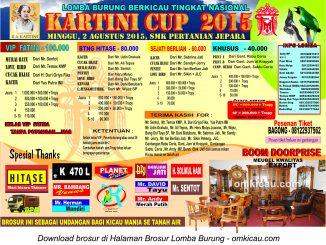 Brosur Lomba Burung Berkicau Kartini Cup, Jepara, 2 Agustus 2015