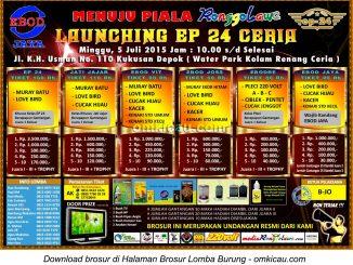 Brosur Lomba Burung Berkicau Launching EP 24 Ceria, Depok, 5 Juli 2015