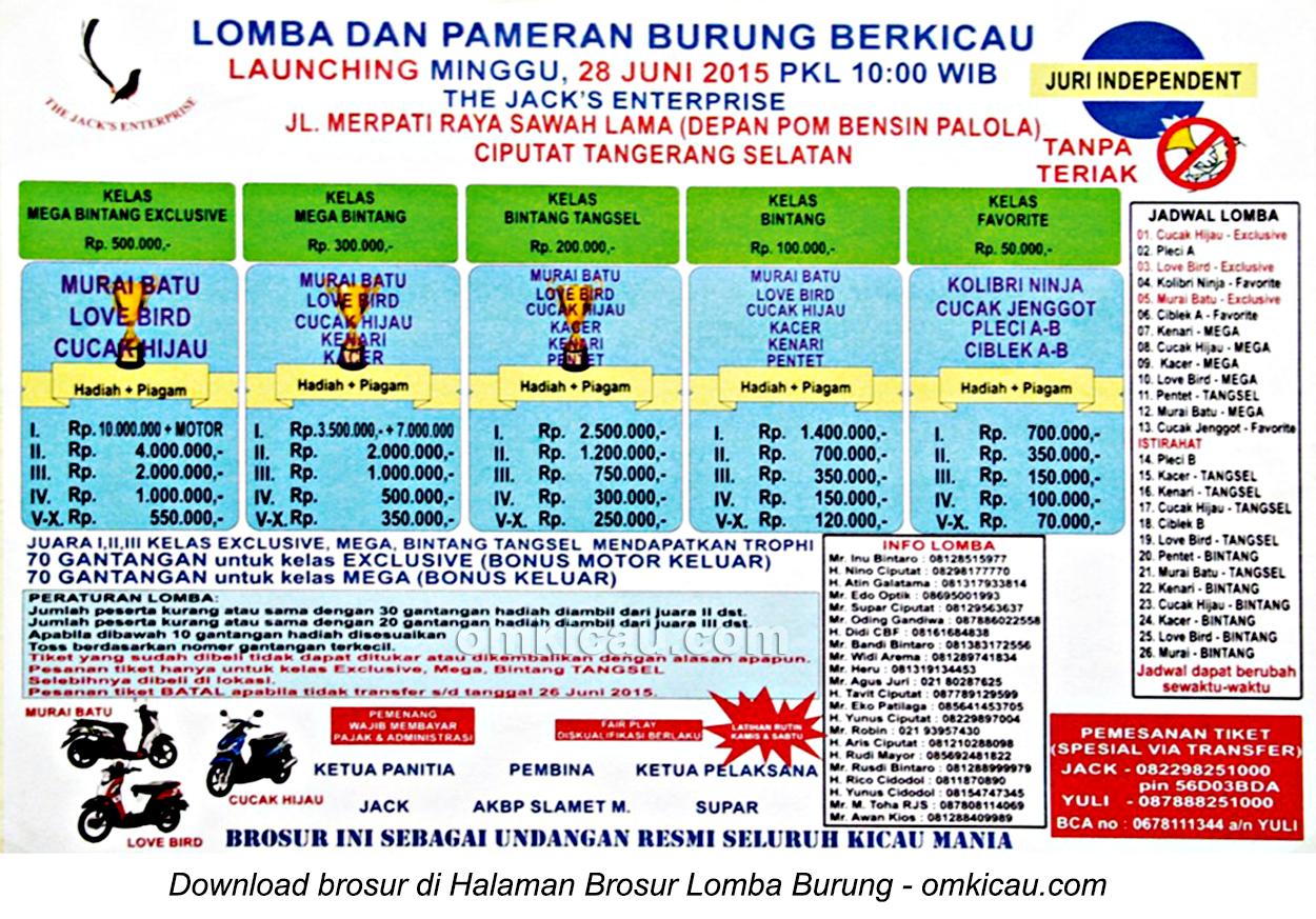 Brosur Lomba Burung Berkicau Launching The Jack's Enterprise, Tangerang Selatan, 28 Juni 2015