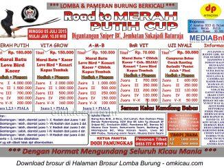 Brosur Lomba Burung Berkicau Road to Merah Putih Cup, Baturaja, 5 Juli 2015