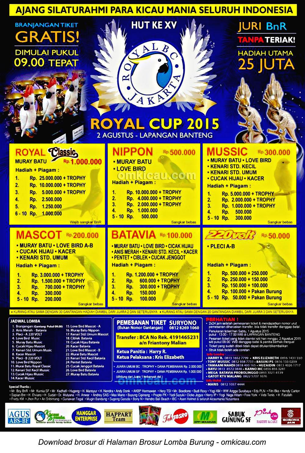 Brosur Lomba Burung Berkicau Royal Cup 2015, Jakarta, 2 Agustus 2015