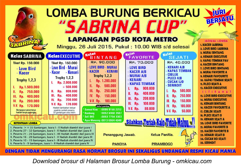 Brosur Lomba Burung Berkicau Sabrina Cup, Kota Metro, 26 Juli 2015