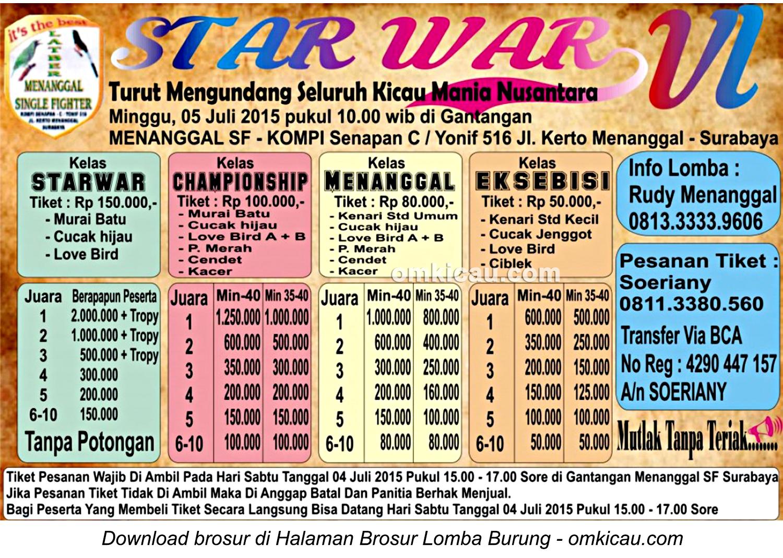 Brosur Lomba Burung Berkicau Star War VI, Surabaya, 5 Juli 2015