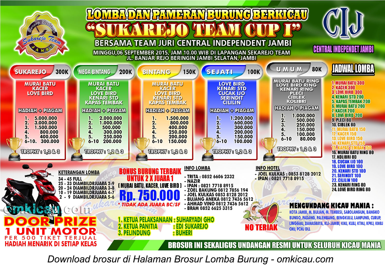 Brosur Lomba Burung Berkicau Sukarejo Team Cup I, Jambi, 6 September 2015