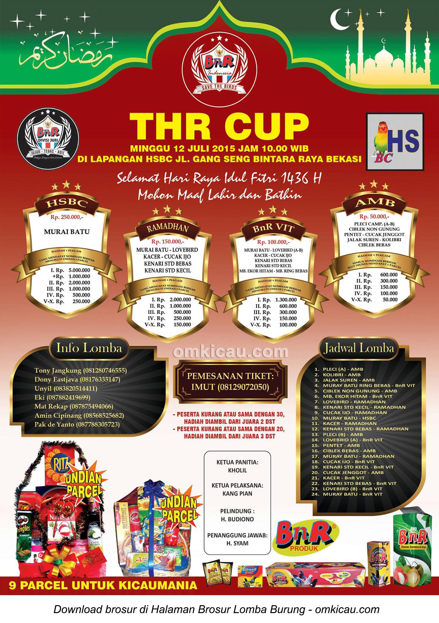 Brosur Lomba Burung Berkicau THR Cup, Bekasi, 12 Juli 2015