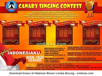 Brosur Canary Singing Contest - PKP, Pati, 23 Agustus 2015