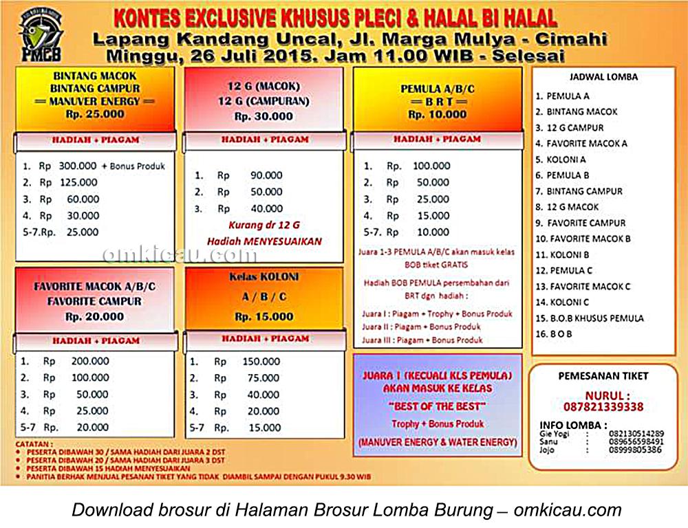 Brosur Kontes Exclusive Khusus Pleci & Halal Bihalal, Cimahi, 26 Juli 2015