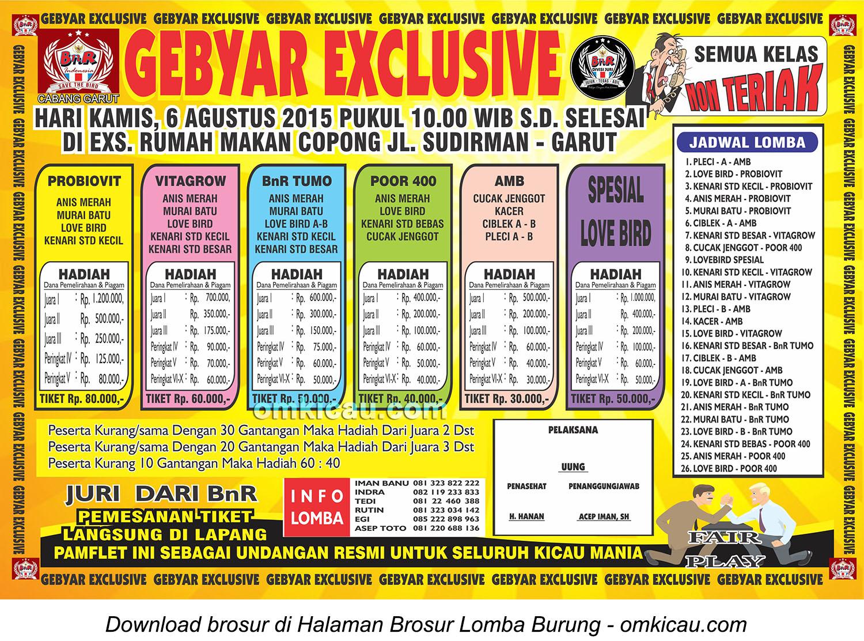 Brosur Latber Burung Berkicau Gebyar Exclusive BnR Garut, 6 Agustus 2015