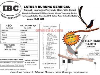 Brosur Latber Burung Berkicau IBC Tangerang setiap sabtu jam 1
