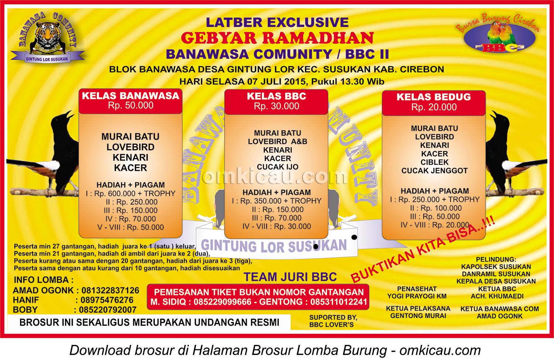 Brosur Latber Exclusive Gebyara Ramadan Banawasa Community - BBC II, Cirebon, 7 Juli 2015