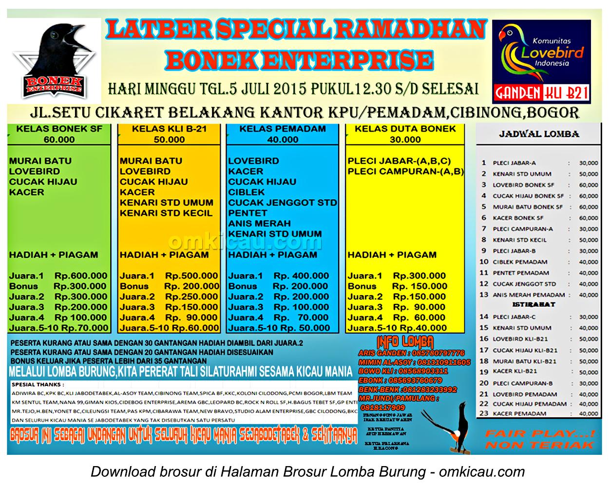 Brosur Latber Special Ramadhan Bonek Enterprise, Bogor, 5 Juli 2015