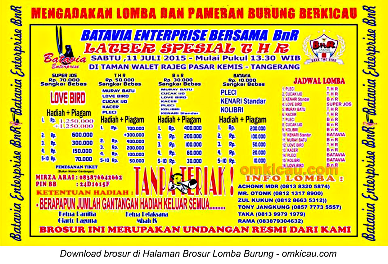 Brosur Latber Spesial THR Batavia Enterprise, Tangerang, 11 Juli 2015