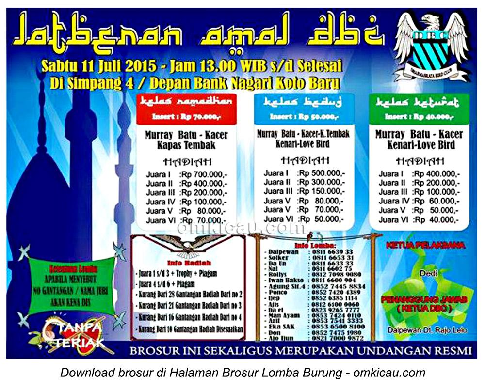 Brosur Latberan Amal DBC Koto Baru, Dharmasraya, 11 Juli 2015