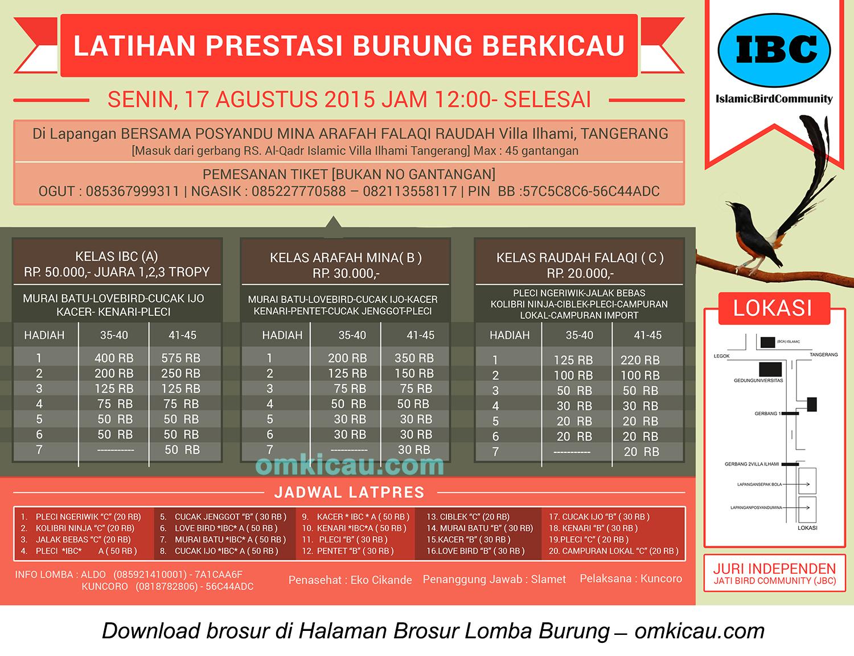 Brosur Latpres Burung Berkicau IBC, Tangerang, 17 Agustus 2015