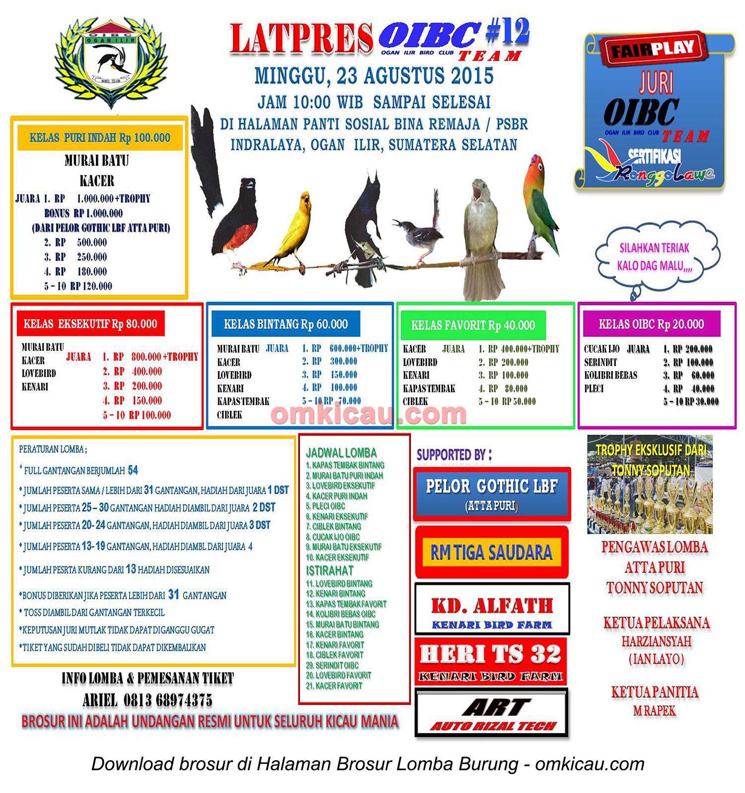 Brosur Latpres Burung Berkicau OIBC #12, Ogan Ilir, 23 Agustus 2015