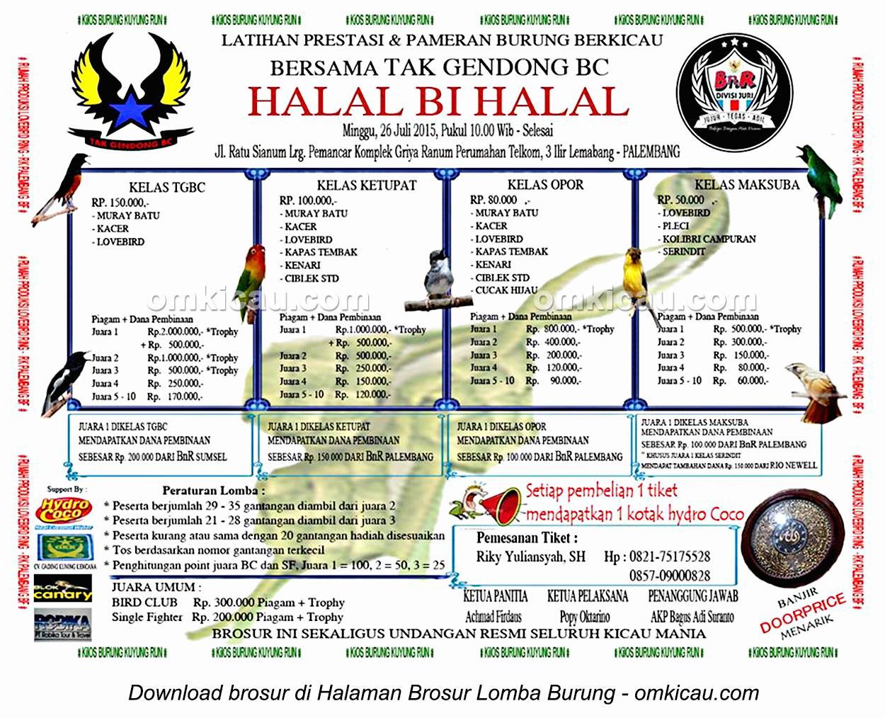 Brosur Latpres Halal Bihalal Tak Gendong BC, Palembang, 26 Juli 2015