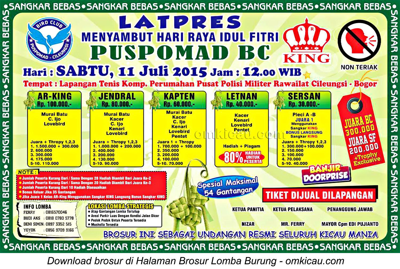 Brosur Latpres Menyambut Idul Fitri Pusmomad BC, Bogor, 11 Juli 2015