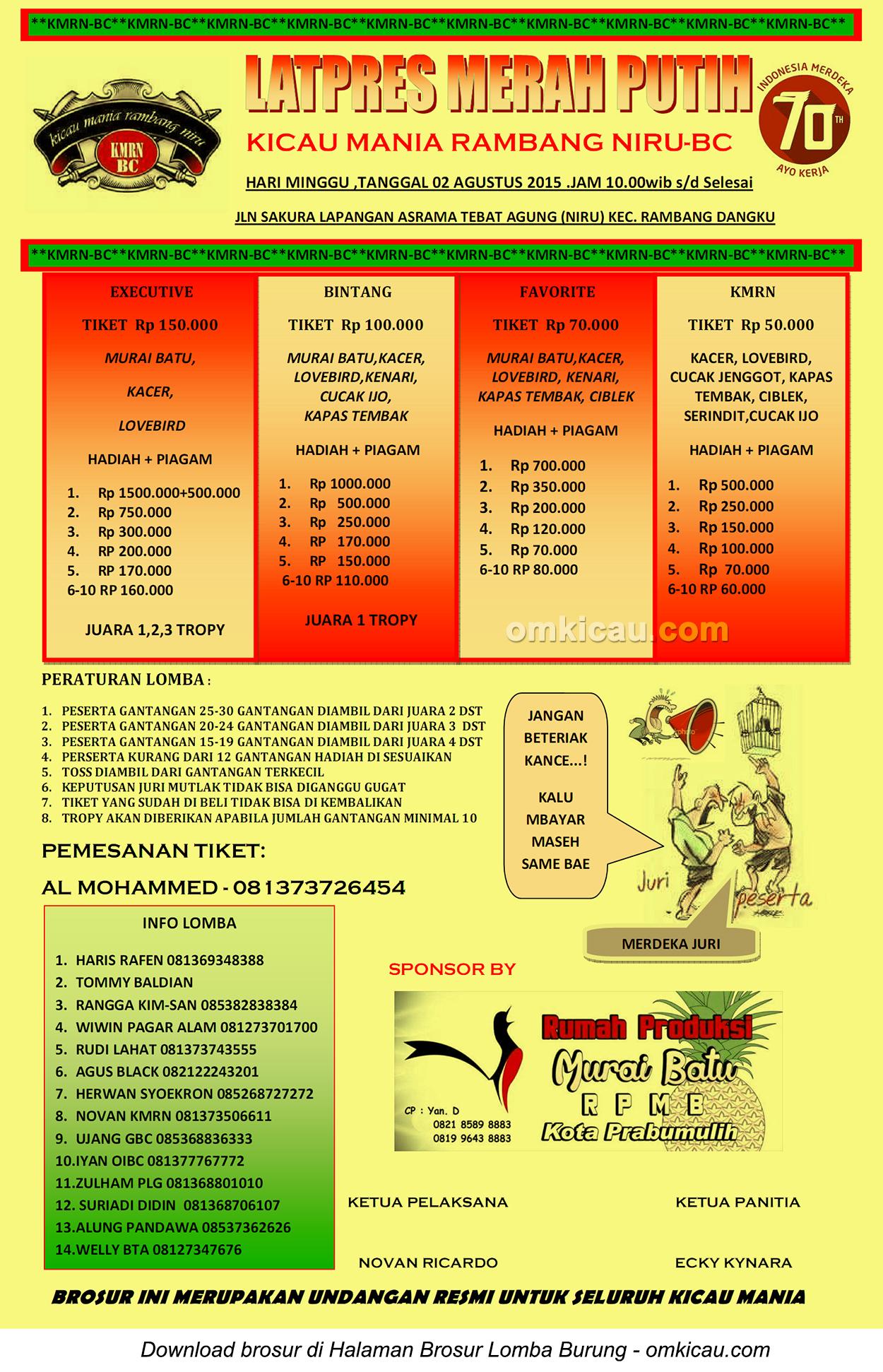 Brosur Latpres Merah Putih KMRN-BC, Muara Enim, 2 Agustus 2015