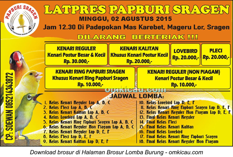 Brosur Latpres Papbruri Sragen, 2 Agustus 2015