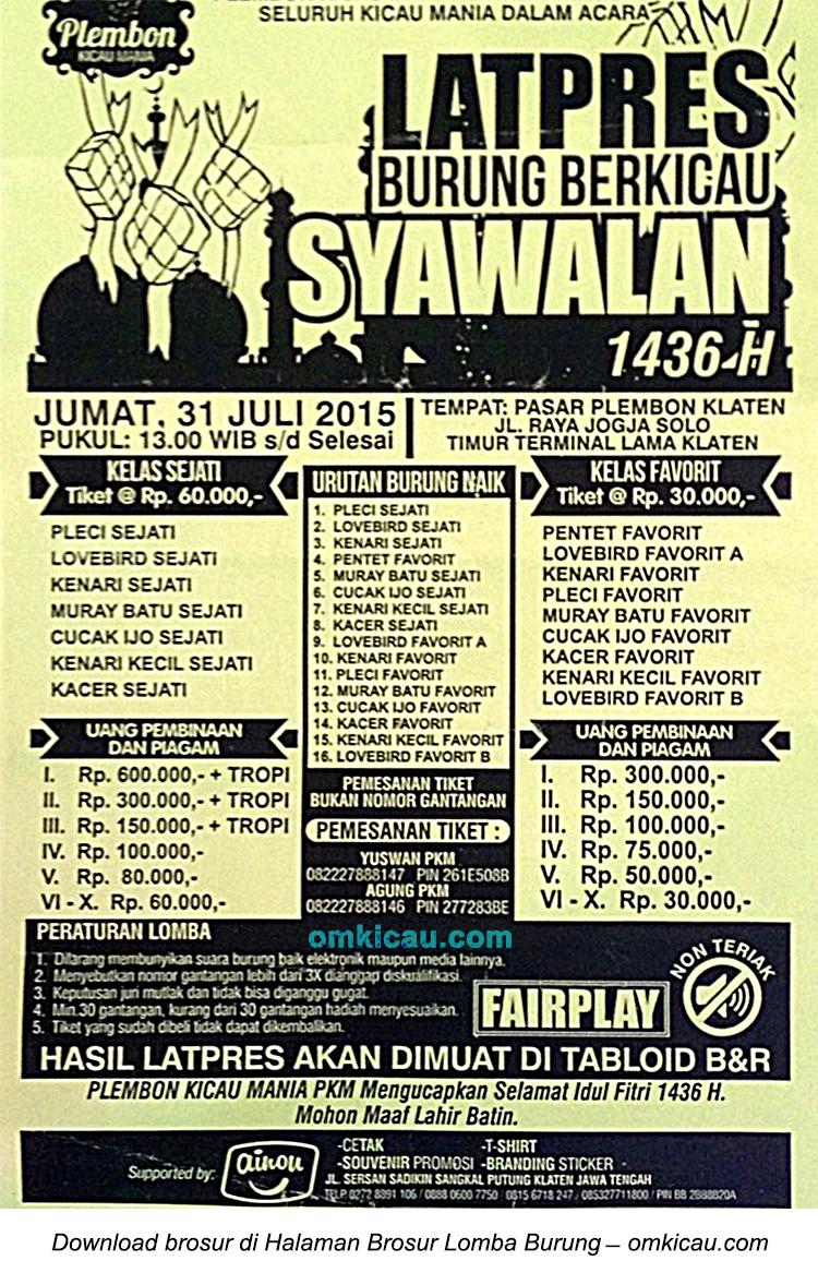 Brosur Latpres Syawalan Plembon, Klaten, 31 Juli 2015