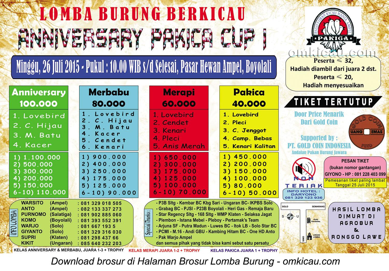 Brosur Lomba Burung Berkicau Anniversary Pakica Cup I, Boyolali, 26 Juli 2015