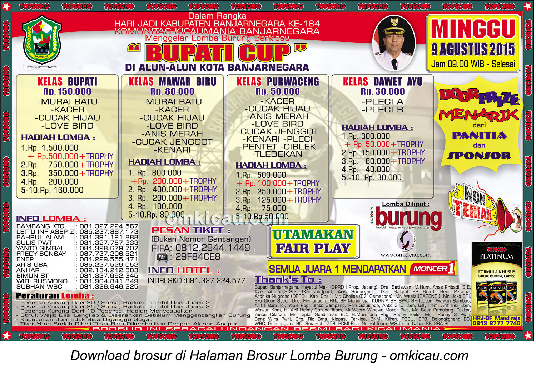 Brosur Lomba Burung Berkicau Bupati Cup, Banjarnegara, 9 Agustus 2015