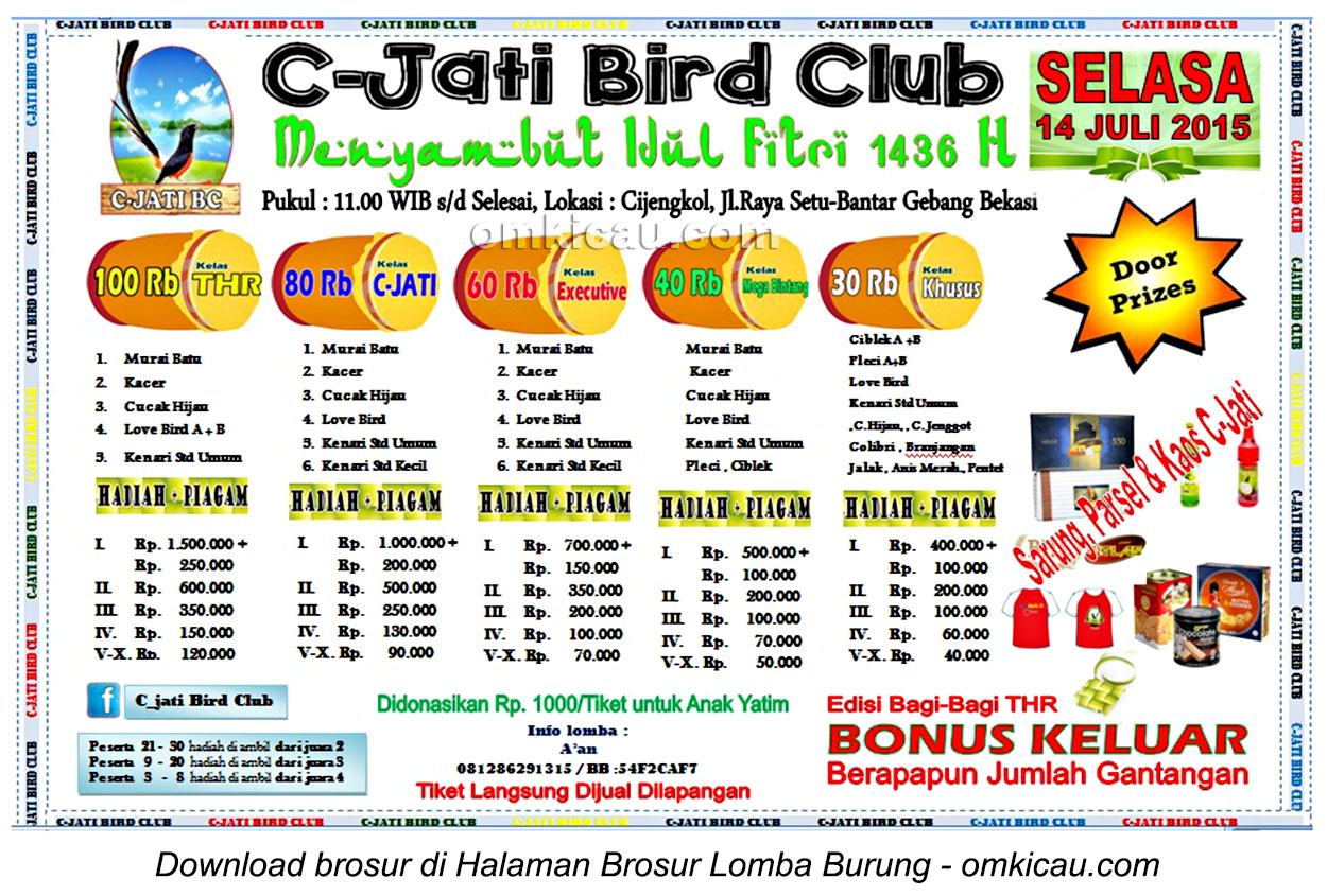 Brosur Lomba Burung Berkicau C-Jati BC Menyambut Idul Fitri, Bekasi, 14 Juli 2015